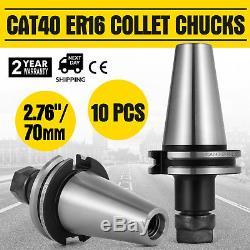 10Pcs CAT40 ER16 2.75/70mm COLLET CHUCKS 20000RPM Tool Holder Stock Made Set
