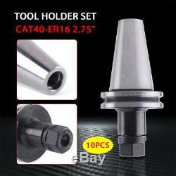 10Pcs CAT40 Tool Holder ER16 Collet Chuck Set length 2.75/70mm Chuck Tool Holde