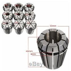 10Pcs ER32 Spring Collets Set 2/4/6/8/10/12/16/18/20mm + MT3 M12 ER32 Collet Chu