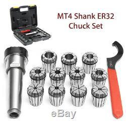 11Pcs MT4 Shank Spring Collet Precision ER32 3-20mm Chuck Set Spanner Box Case