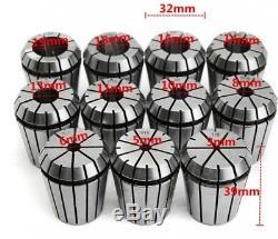 11pcs ER32 Spring Collets Set R8-ER32 Collet Chuck Holder CNC Milling Lathe Tool