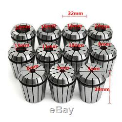11pcs ER32 Spring Collets Set With R8-ER32 Collet Chuck Holder For CNC Milling L
