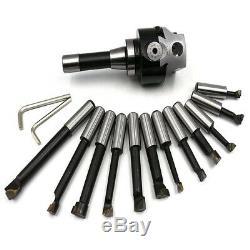 12PCS/Set 3 inch Boring Head R8 Shank 3/4 inch Boring Bar Set Bridgeport Mi N5Q2