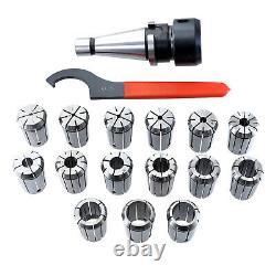 17Pcs Precision Collet Set 3-25mm NT40-ER32 Spring Collet Chuck Holder Wrench