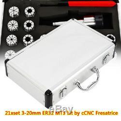 18Pcs 3-20mm MT3-ER32 Collet Chuck Set For CNC MILLING MACHINE + Storage Box
