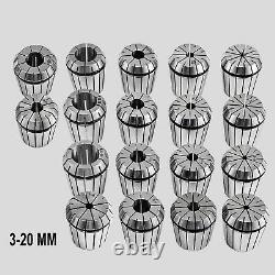 18 Pcs Spring Collet Set ER32 Collet Chuck Holder Wrench for CNC Milling Lathe