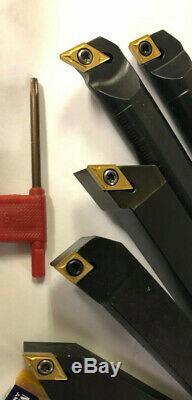 1/2 LATHE TOOL SET INDEXABLE WITH 20 PCS CARBIDE INSERTS DCMT/CCMT cnc