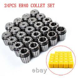 24Pcs 3-26MM ER40 Precision Spring Collet Set For Milling Lathe CNC Chuck Bit