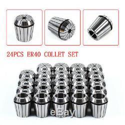 24Pcs ER40 Spring Collet Set 3-26mm For CNC Lathe Engraving Machine Tool STOCK