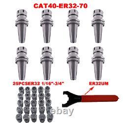25Pcs ER32 Collet Set 1/16-3/4 CAT40 ER32 70 2.76 Collet Chuck Tool Holder