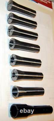 28 Pcs. 1/16 to 1 x 32nds R8 Precision Round Spring Collet Set -0.0004 TIR