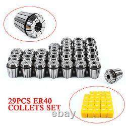 29PCs Precision ER40 Collet Set ER40 Collet Chuck CNC Spindle Chuck 1/8-1