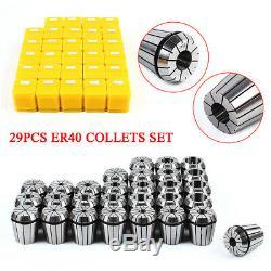 29Pcs ER40 Precision Spring Collet Set Milling Lathe CNC Chuck Bit Holder Tool