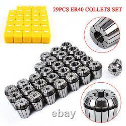 29Pcs ER40 Precision Spring Collet Set Milling Lathe CNC Chuck Bit Tool 1/8-1