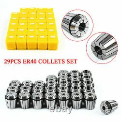 29Pcs ER40 Steel Precision Spring Collets Set Milling Lathe CNC Chuck Bit Tool