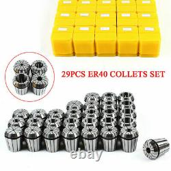 29pcs ER40 Spring Collets Set Precision Milling Lathe CNC Chuck Bit Holder Tools