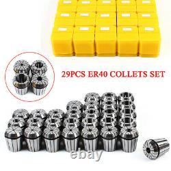 29pcs Precision ER40 Spring Collet Set Milling Lathe CNC Chuck Bit Holder Tool