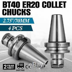 4Pcs BT40 ER20 COLLET CHUCK W. 2.75 GAGE LENGTH Tool Holder Set Milling Fast CNC