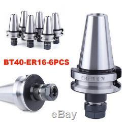 6pcs BT40-ER16 Collet Chuck Tool Holder Set 2.76/70mm Length 15000RPM Brand New