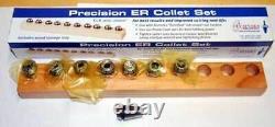 8 Pcs. Techniks ER 16 3mm to 10mm x 1mm Steel Sealed Coolant CNC Collet Set