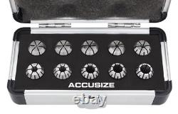 AccusizeTools 10 Pcs ER-16 Collet Set Holding End Mills, Size from 1/32'' to