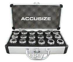 AccusizeTools 18 Pcs ER32 Collet Set 3/32'' to 25/32'' in Fitted Strong Box, 0