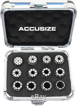 Accusize Industrial Tools 2 Mm To 13 Mm By 1 Mm Er-20 Collet Set, 12 Pcs/Set In