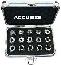 Accusize Industrial Tools 2 Mm To 16 Mm By 1 Mm Er-25 Collet Set, 15 Pcs/Set In