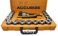Accusize R8 Shank + 15 Pcs Er40 Collet Set + Wrench In Fitted Strong Box, Ne