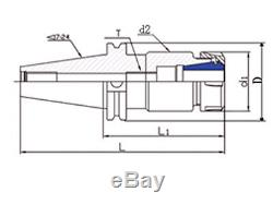 CAT50 ER25 Collet Chucks 2 Pcs w Proj. 4-6 Balanced G2.5 @10,000 RPM Prime