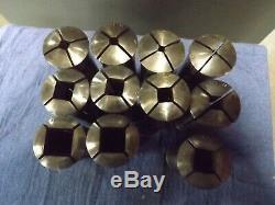 C-5 Square Collets Set (11 pcs) mostly Hardinge Brand used condition