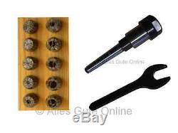 Collet Chuck MT1 (MS1) M6 ER16 + ER16 Collet Set 10pcs. HL + Wrench A #900
