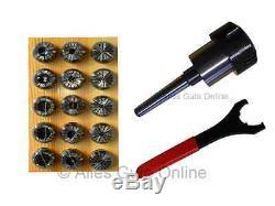 Collet Chuck MT1 (MS1) M6 ER25 + ER25 Collet Set 15pcs. HL + Wrench UM #900