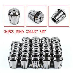 ER40 (24Pcs) Collet Set Metric Size High Precision Spring Clamping Collet New