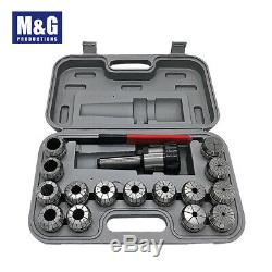 ER40 Collet Set, 15pcs/set(3-26mm)With MT3 Shank and wrench