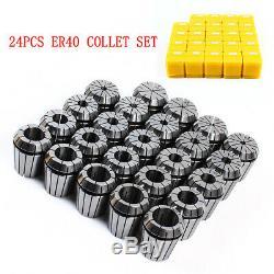 ER40 Spring Collet Set For CNC Milling Lathe Engraving Machine 3-26mm 24Pcs New
