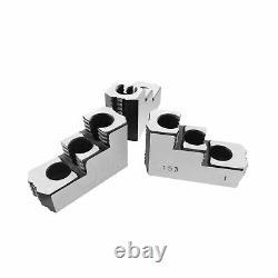 Lathe Chuck Serrated (1.5 mm x 60) Steel Double Step Hard Jaws Set (3 Pcs) fo