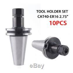 NEW 10Pcs CAT40 Tool Holder ER16 Collet Chucks Kit 2.75 Holder Set 8000RPM US