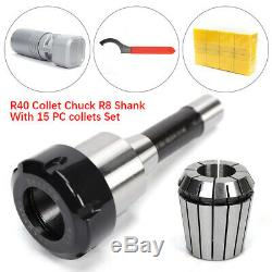 New R8 Shank ER40 Chuck With 15 PCS Collets Set For CNC Milling Lathe Tool USUS
