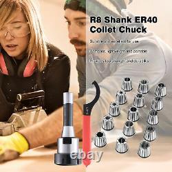 R8 Shank + 15PCS ER40 Spring Collet Set 1/8-1 CNC Super Precision Milling Tool