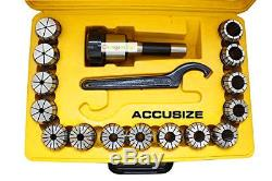 R8 Shank + 15 Pcs/1set ER40 Collet Set + Wrench in Fitted Strong Box #Q1274 ZX