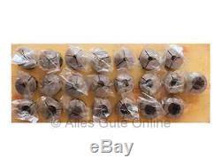 Set of 5C Collets 385E round, 3.0-24.0mm, 22 pcs. On wood panel #870