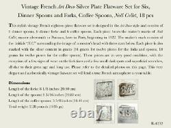 Vintage French Art Deco Silver Plate Flatware Set for Six, Noël Collet, 18 pcs