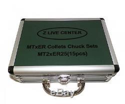ZLIVECENTER MT2 ER25 COLLET CHUCK TOOL HOLD SET 15 PCs 2MT ER 25 TOOL HOLDER